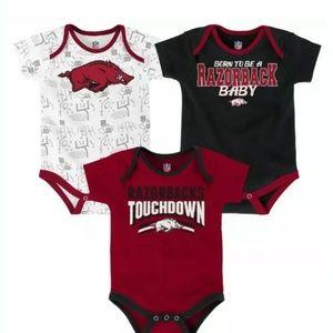 Arkansas Razorbacks 3 piece Bodysuits 6-9 Months